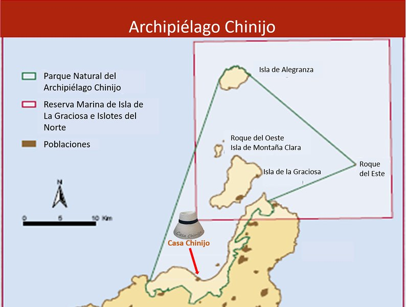 Ubicación de Casa Chinijo, en el Archipiélago Chinijo.