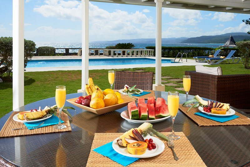 Breakfast on the Porch overlooking the Caribbean Sea