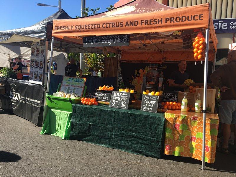 Market stalls at Caloundra Markets every Sunday