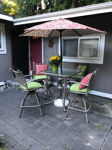 Outdoor seating in the front yard