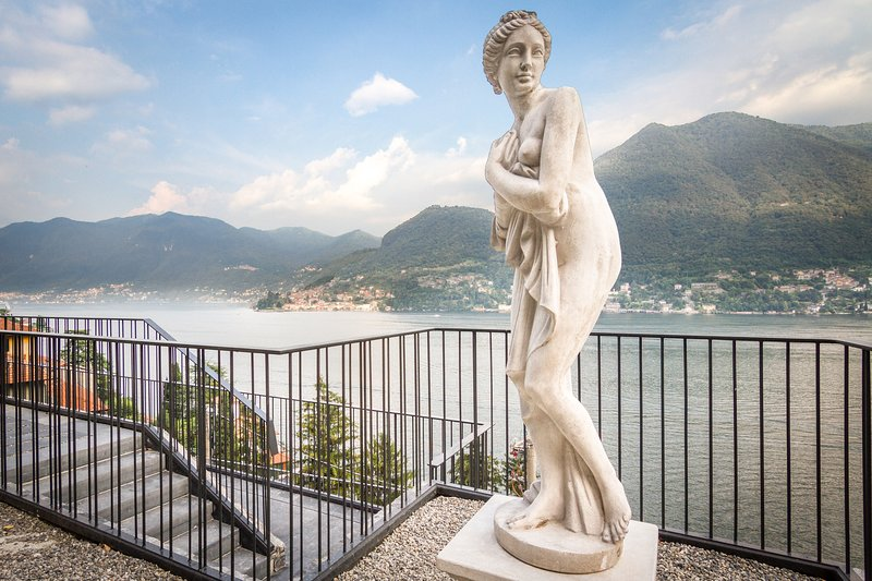 View of Lake Como from the villa\'s grounds, with access to the swimming pool