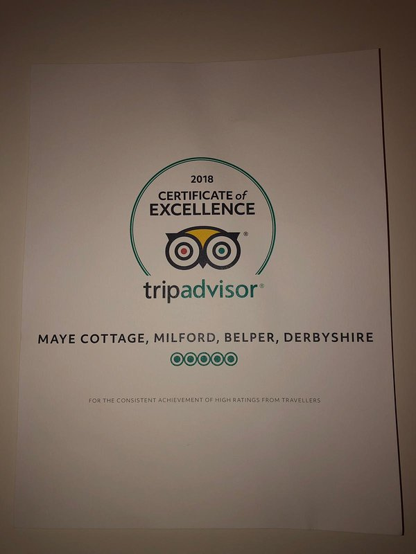 We have been awarded this by trip advisor