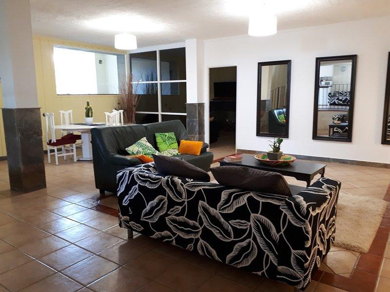 Ampio soggiorno e zona pranzo con divano letto doppio