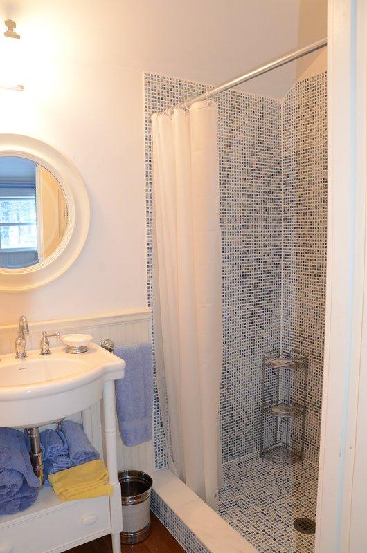 Private Master Bathroom with custom mosaic shower stall. Unwind & rejuvenate