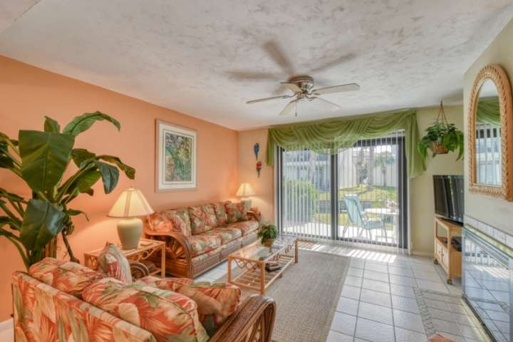 The condo is very comfortably decorated with soft Florida colors.