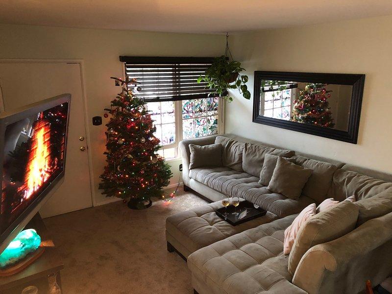 Sala de estar remodelada con sofá y alfombra nuevos reemplazados en todo el apartamento.