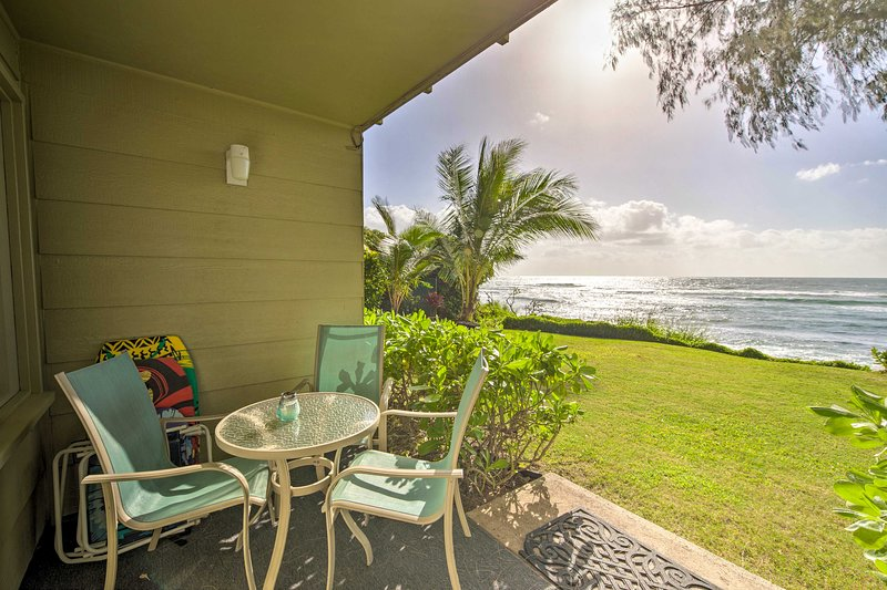 This 2-bedroom Kapa'a vacation rental condo offers a relaxing oceanfront escape!