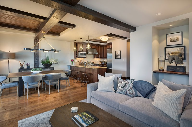 Relax in the spacious living room after a day in the mountains.
