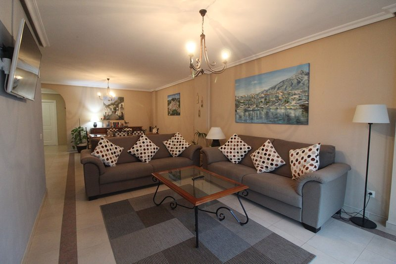 Spacious lounge,  seating for six people, Air Conditioning 42 inch LED Internet TV, cable channels.