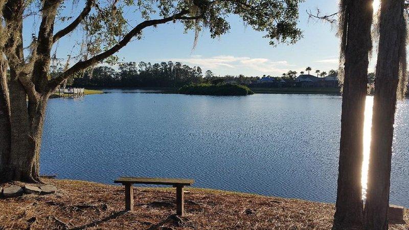 Nuestro patio trasero vista al lago