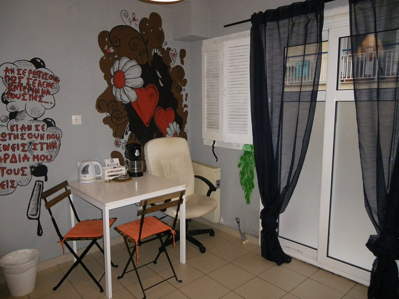 The dining area with the shutters closed...