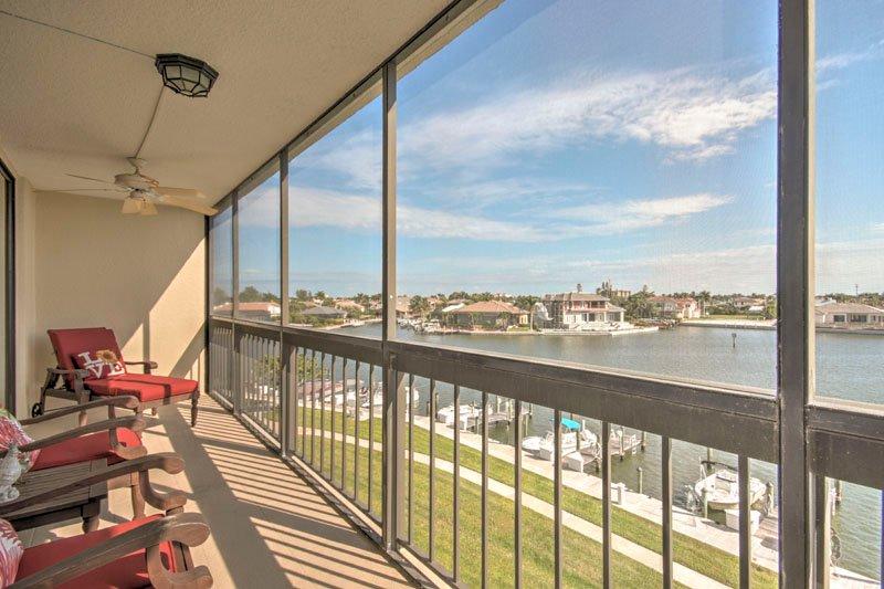 Screened Balcony of Water & Docks