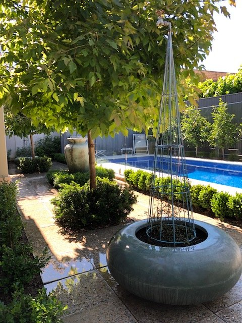 Patio privado y piscina.