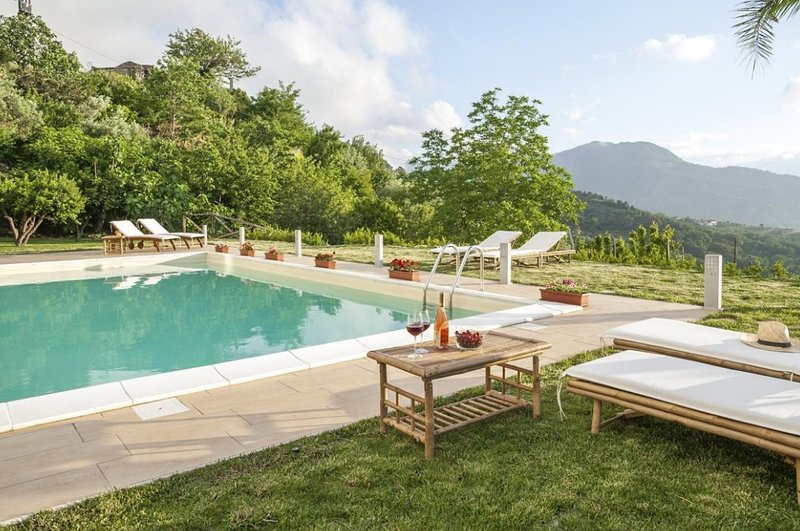 Superb Villa with Private Heated Hydro-massage Pool Overlooking Aeolian Islands!, holiday rental in Castroreale