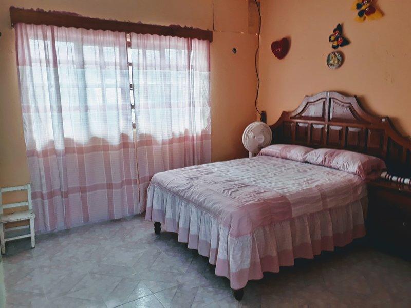 Habitación con cama matrimonial y para los huéspedes que les gusta descansar cuenta con una  hamaca