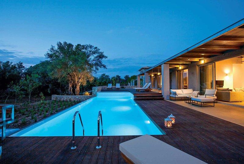 Luxury villa w/large pool, 5 min to beach & bars, holiday rental in Frini
