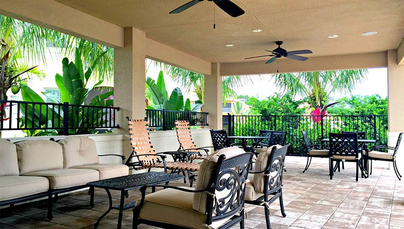 Beautiful cabana that is located in pool area right outside the club house and exercise room.
