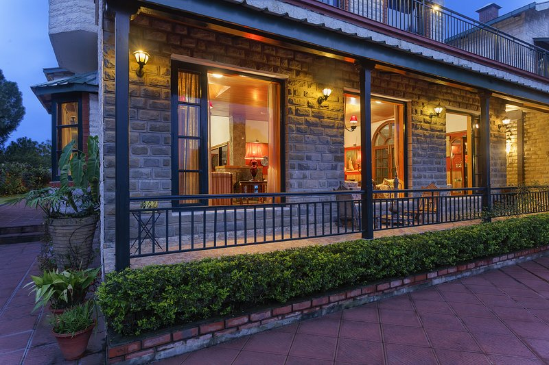 A closer look in the evening on the facade of this Vacation home in Kasauli