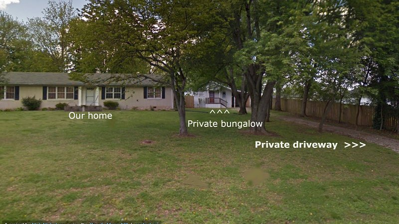 Bungalow has it's own private driveway and carport.