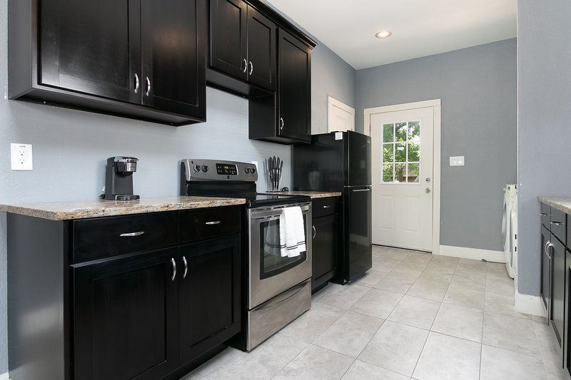 Kitchen, Countertops, Refrigerator, Washer, Dryer, Stove, Microwave, Coffee Maker