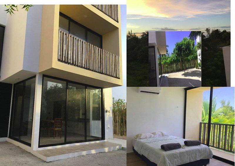 Villa No 5 Telchac, 3 pisos, 150mt al mar, alberca jacuzzi AC Wiifii, holiday rental in San Crisanto