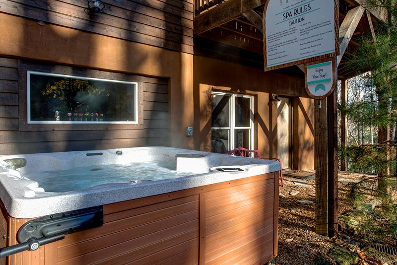 Closer entrance view featuring a 7-person hot-tub