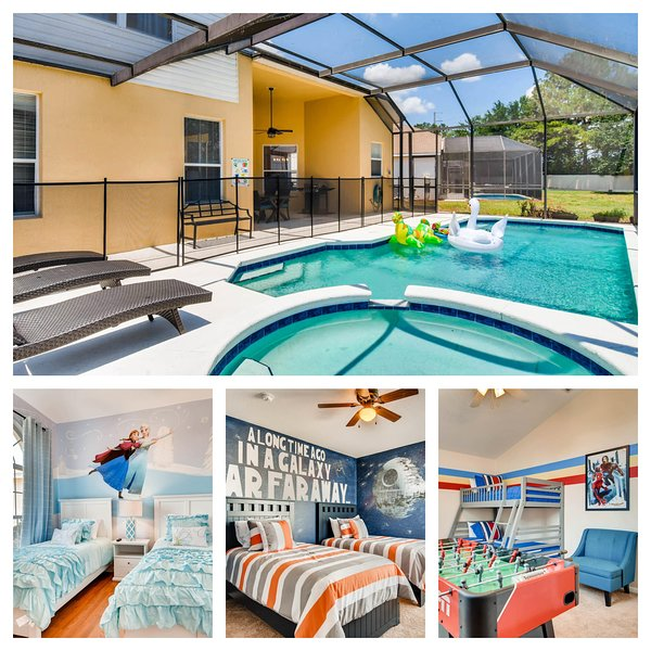 Private Pool with Frozen, Star Wars, and Super Hero Room plus Garage Game Room.