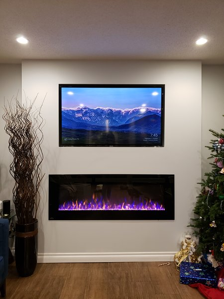 Living Room fireplace and smart tv
