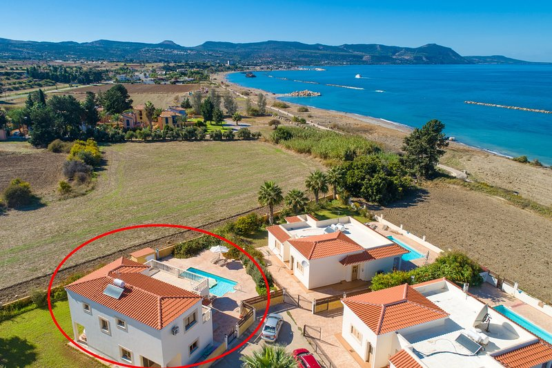 Aerial view showing location of Hector Beach Villa