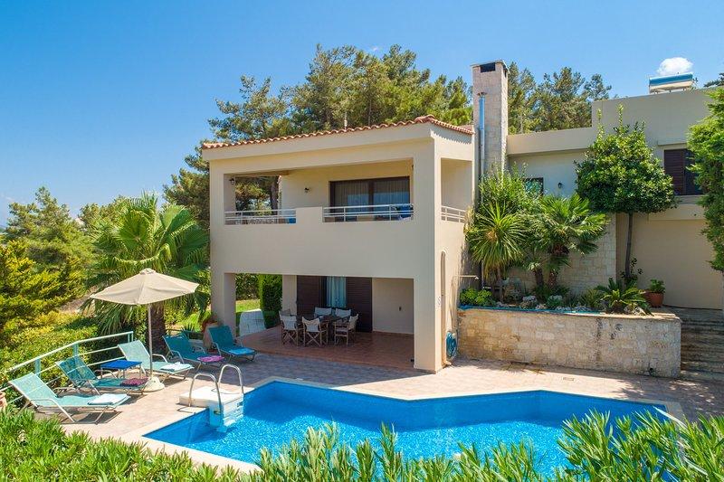 Villa Ilia: Large Private Pool, Sea Views, A/C, WiFi, aluguéis de temporada em Roussospiti