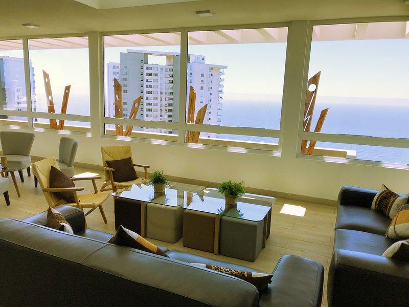 ☆☆☆☆☆ Deparmento Top en barrio alto de Reñaca, Viña del Mar, location de vacances à Renaca