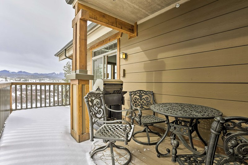 Look out to snow-capped peaks from your private balcony.