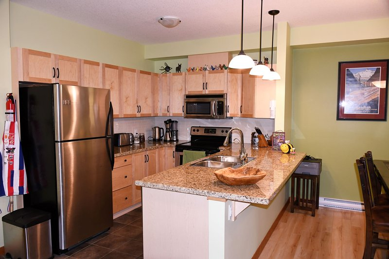 Well equipped kitchen.  Stainless steel Fridge, Stove, Oven, Microwave, Toaster, Coffee.
