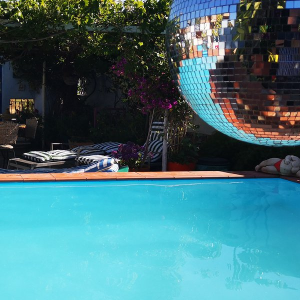 Swimming pool  6x3 metres.  Private walled area, not overlooked.