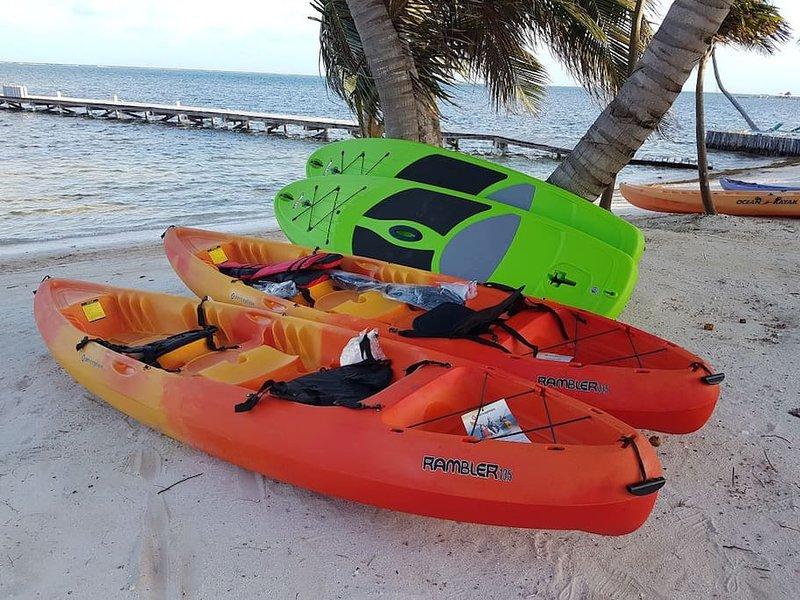 Kayaks complementarios, tablas de remo, bicicletas, snorkel y artes de pesca. Tienda de buceo / tour PADI en el sitio