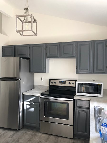 Brand new appliances. Breakfast items, beverages and local snacks included.
