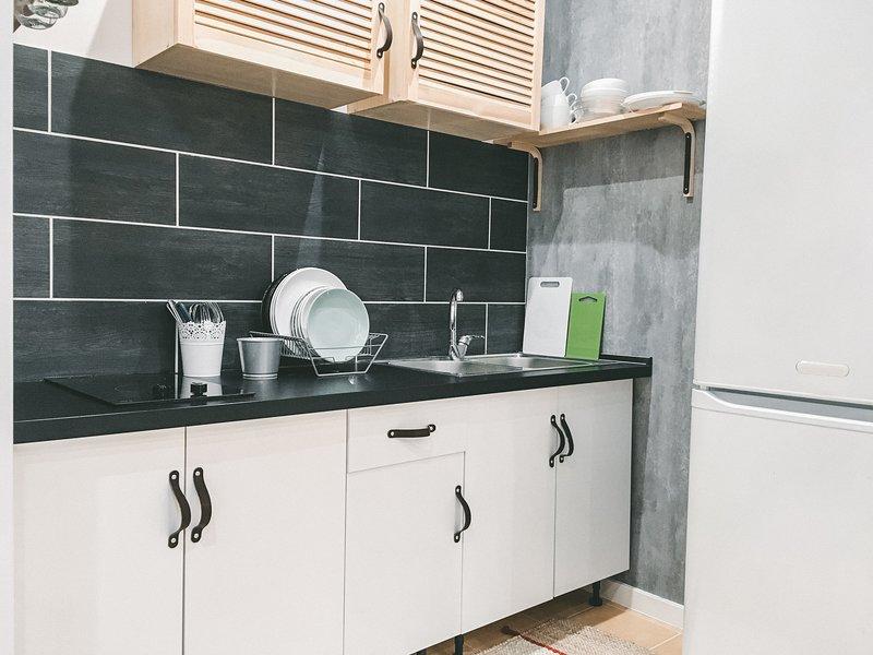 Furnished kitchen. Clean  dishes and utensils are in. // Оборудованная кухня. Посуда новая и чистая.