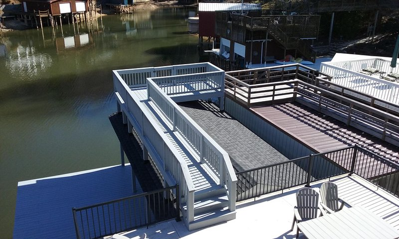 Ready to enjoy the new boathouse and lake?  This is the view from the patio.