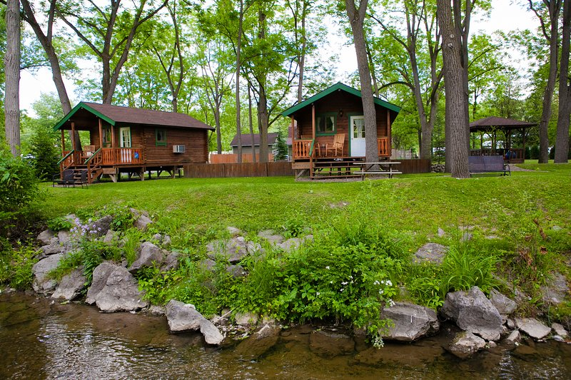 Cabins on peaceful Catharine Creek