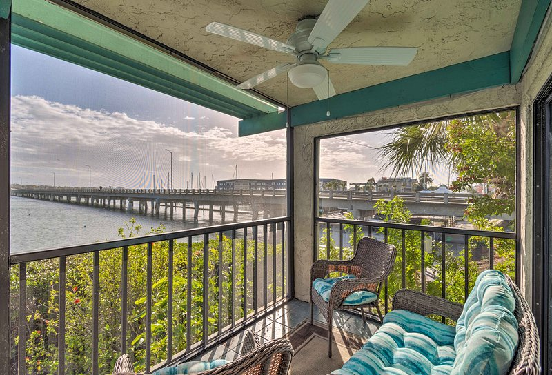 Admire views of the ocean and bridge from your balcony.
