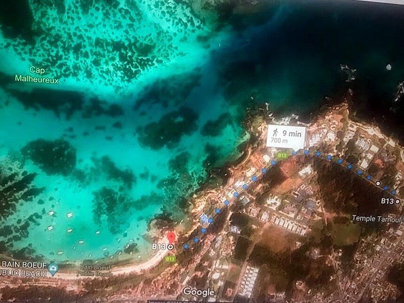 Mappa di accesso alla spiaggia di Bain-Boeuf a 700 metri.