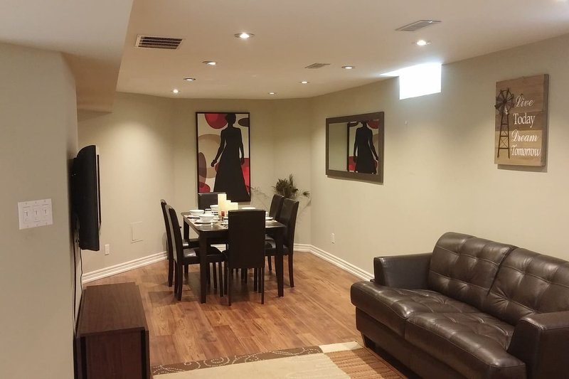 Open concept Living and Dining room.