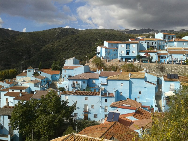 Juzcar Smurf Village in the Andalusian Hills - all buildings painted blue.