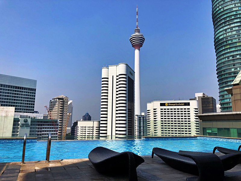 the stunning city view at swimming pool area