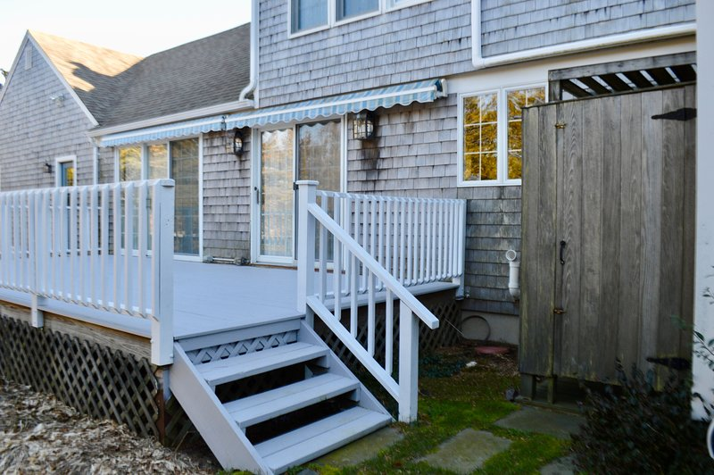 Deck and fully enclosed outdoor shower - will have grill and outdoor dining for summer