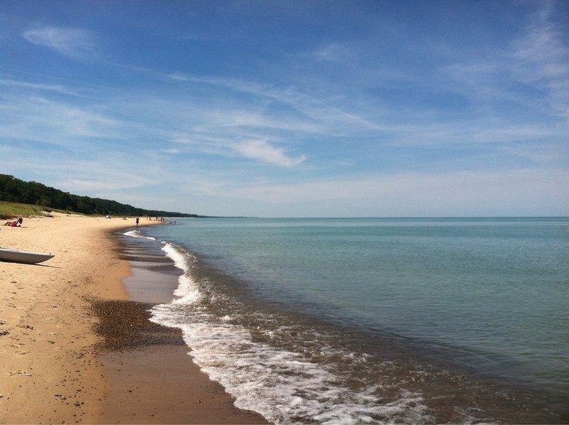 calm day at the beach at Lake Michigan.