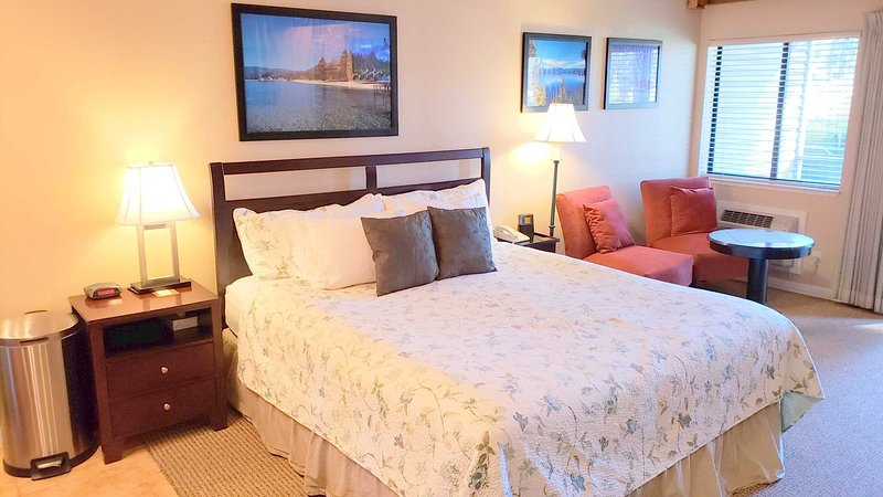 King size bed and comfortable living area