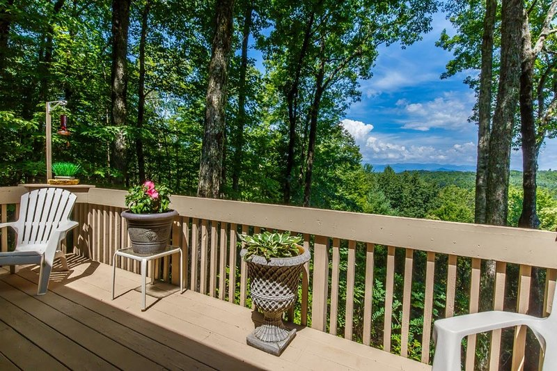 A deck with more seating, flowers, and more views off the screened in porch.