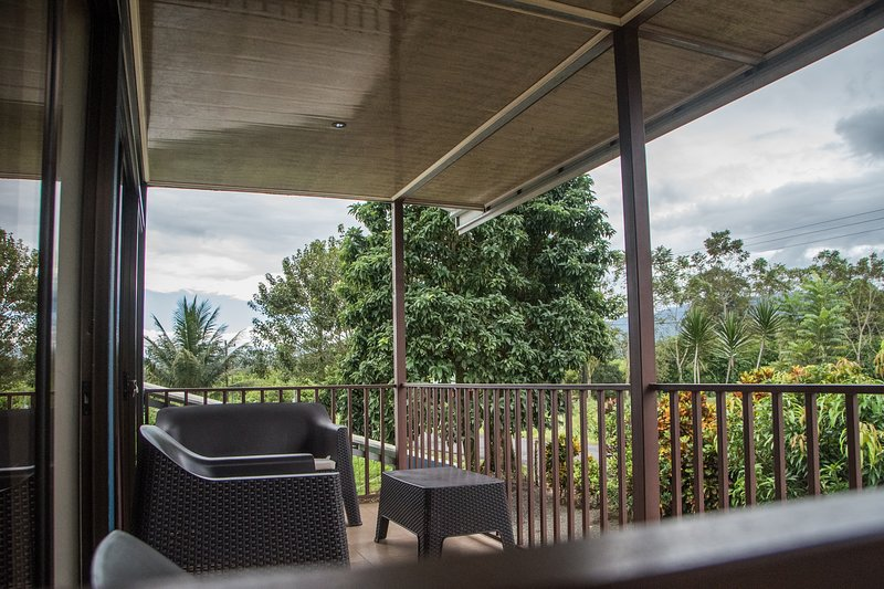 The best place, here you can read, drink coffee or just sit and take a look to the Arenal Volcano.