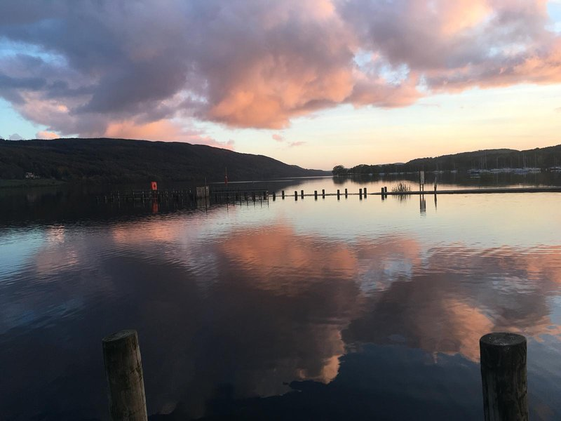 Sunset on Coniston water, a 10 min stroll through the village.